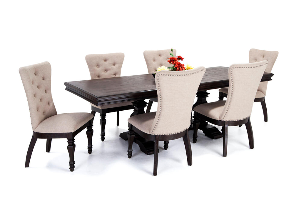 Riverdale 7 Piece Dining Set with Upholstered Chairs | Bob's Discount Furniture